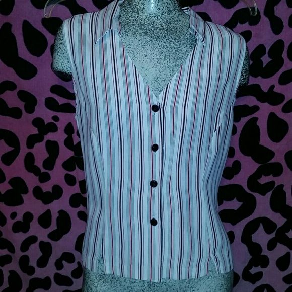 Cute Blouse W/Red &-Black Striped, sz LG Very nice Blouse by Gloria Lance button front, white with red and black stripes. Blouse is new and never worn. Gloria Lance Tops