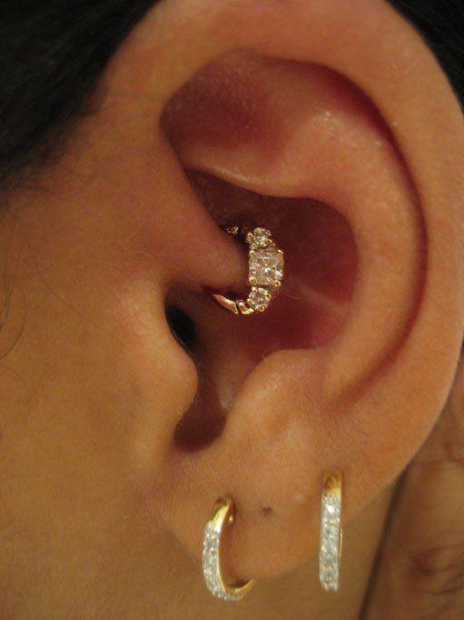 Diamond Look Hoop Rook Or Daith Jewelry For Peircing