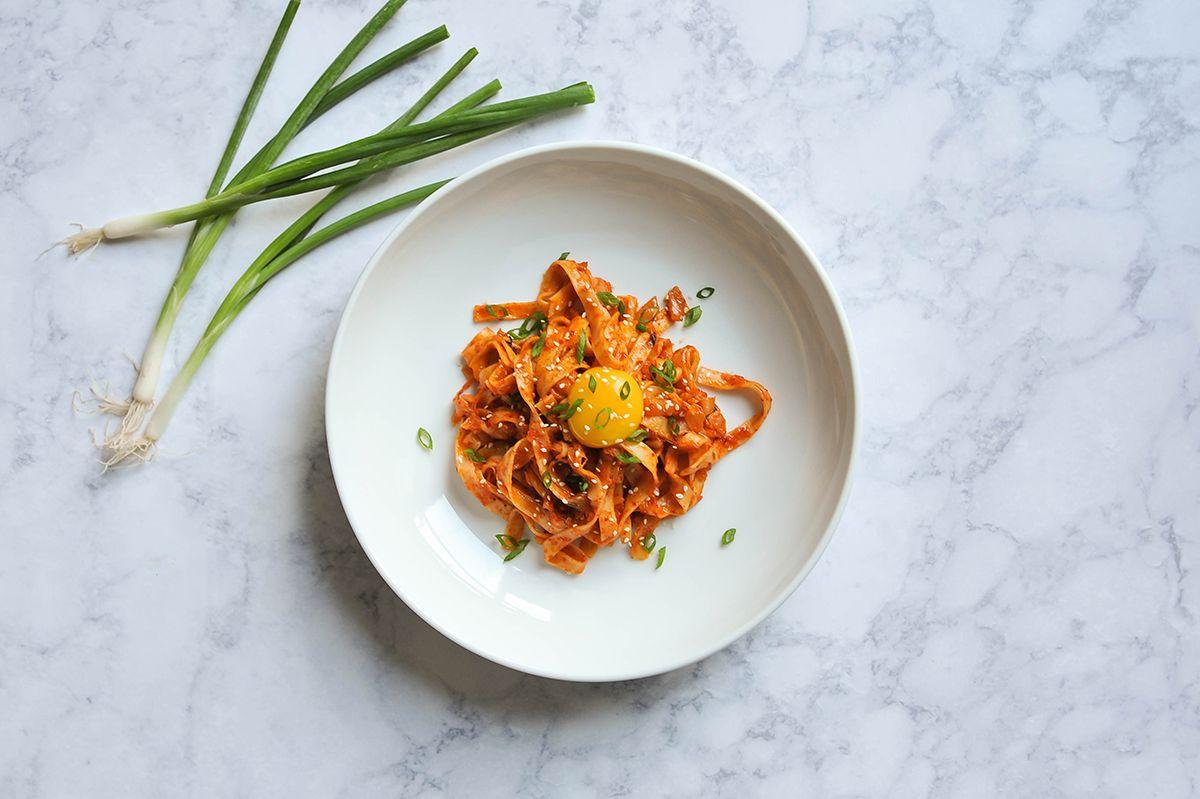 Kimchi Udon with Scallions. — Smak