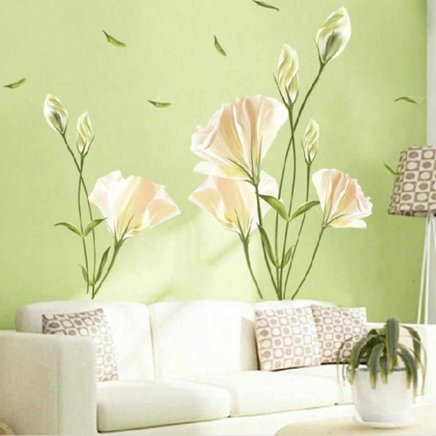 Hot Art Vinyl Removable Large Wall Stickers Lily Mural Flower - Yellow flower wall decals