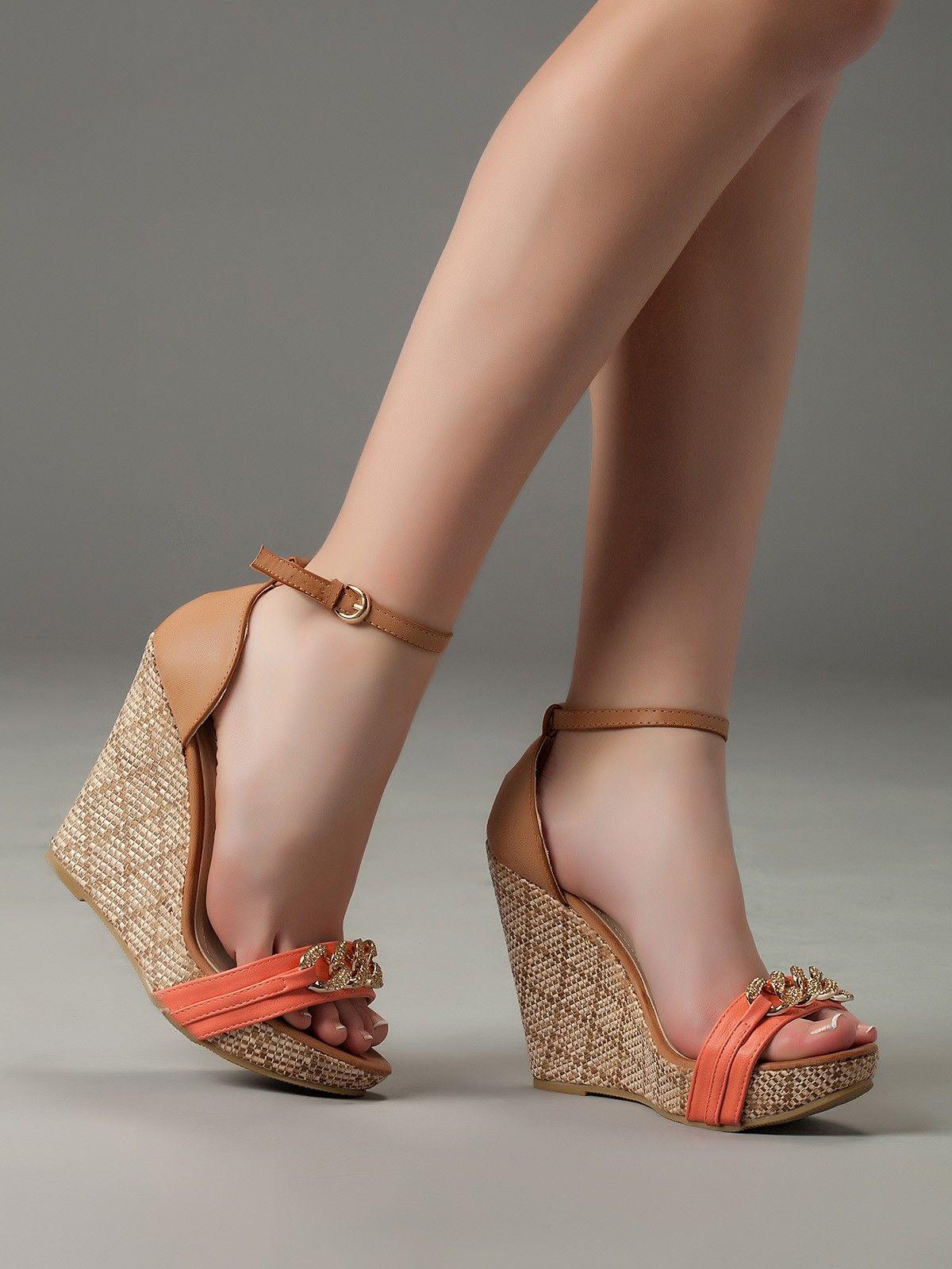 Sandalias Plataforma Cuña Coral Z097 | Tacones, Zapatos