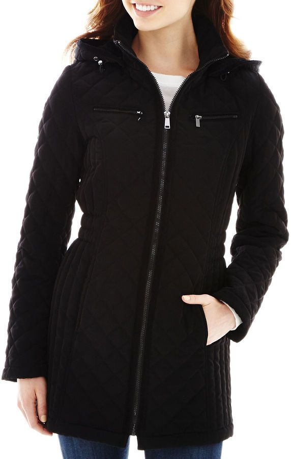 St. John's Bay women's Long Quilted Jacket zip front black ... : quilted long johns - Adamdwight.com