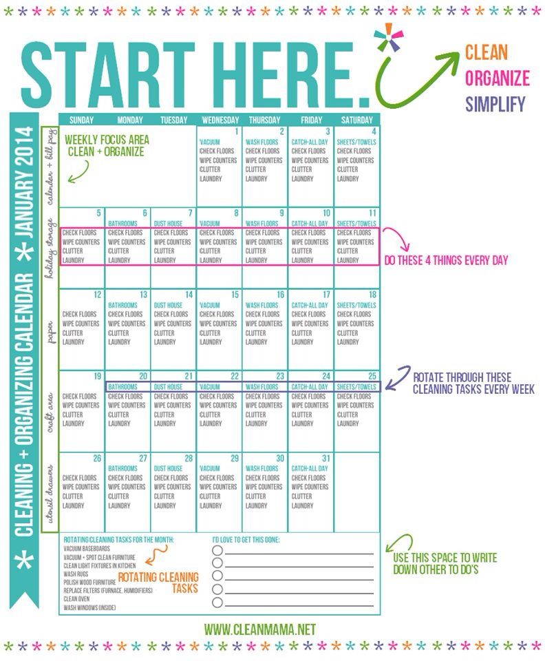 house cleaning chart