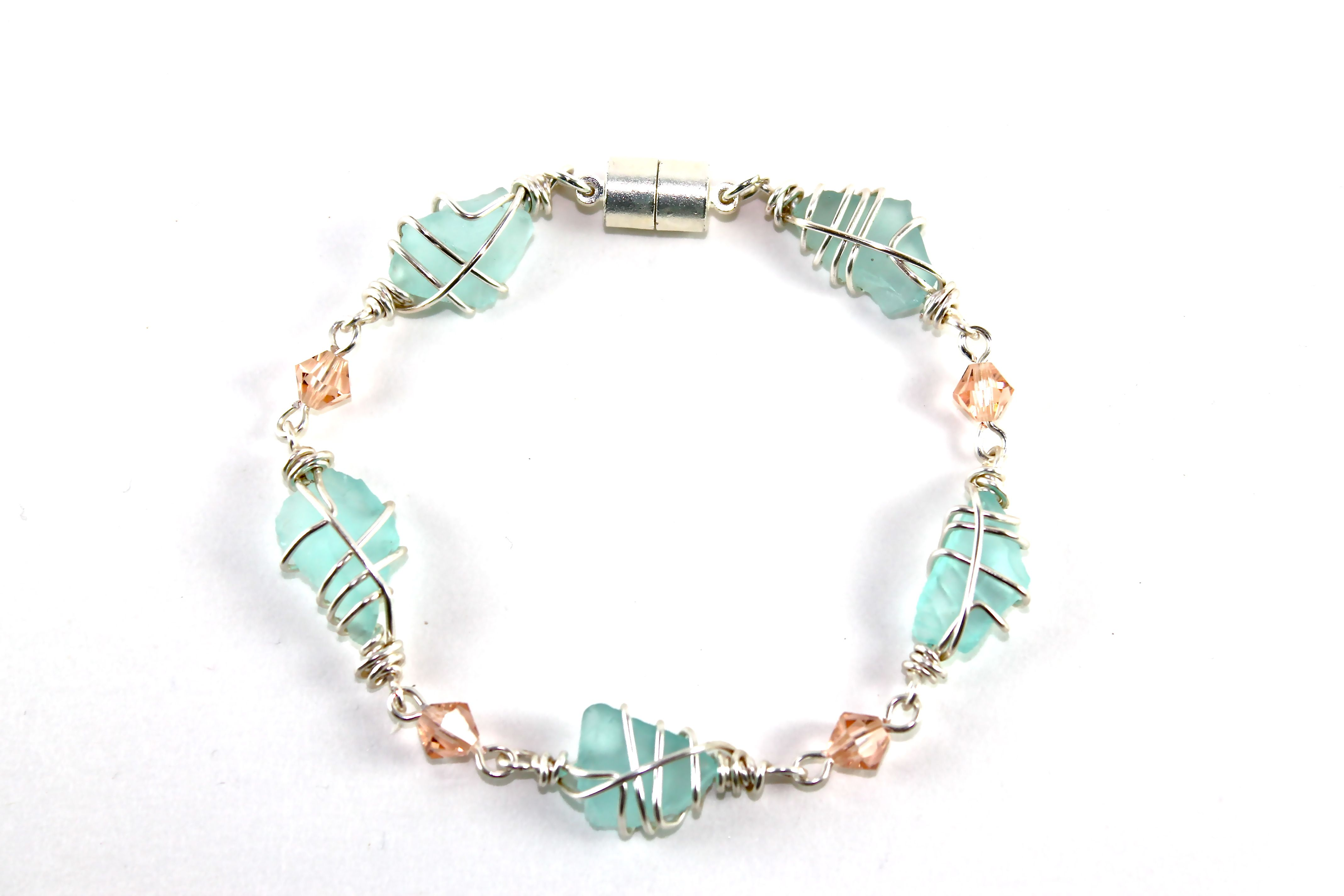 Aqua and Peach Sea Glass Bracelet