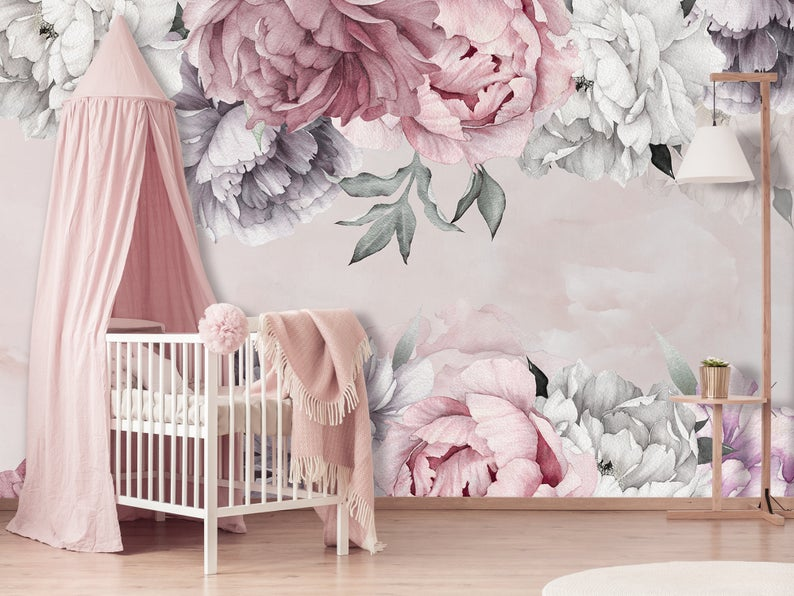Peonies Wallpaper Removable Floral Wallpaper Marble Flowers Wallpaper For Nursery Girl Self Adheseve Wallpaper Peony Peel Stick Km628 In 2021 Peony Wallpaper Nursery Wallpaper Floral Wallpaper