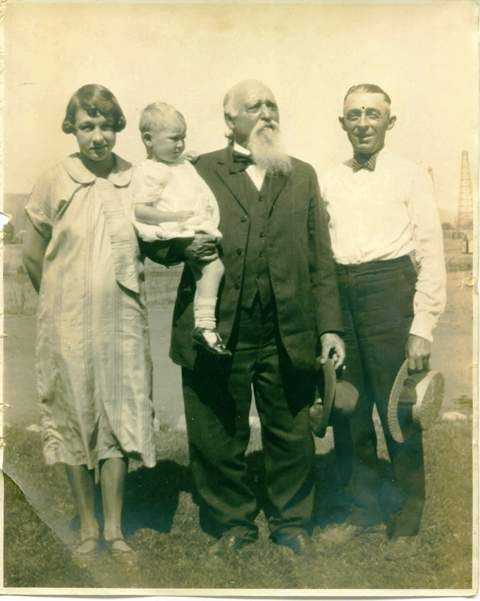 evelyn paull (my grandmother), helen paull (my mother), alan coggeshall (my great-great-grandfather), clyde coggeshall (my great-grandfather, olinda, california, 1925.