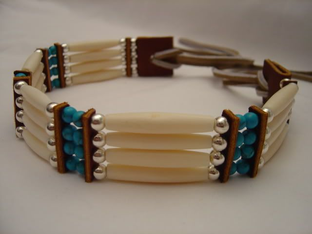 4 row bone and horn handmade Native American Bracelet