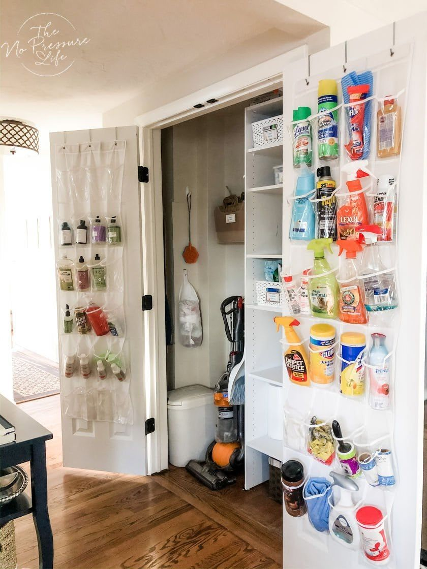 5 Broom Closet Organization Ideas To Simplify Your Cleaning Routine Hall Closet Organization Broom Closet Organizer Closet Organization