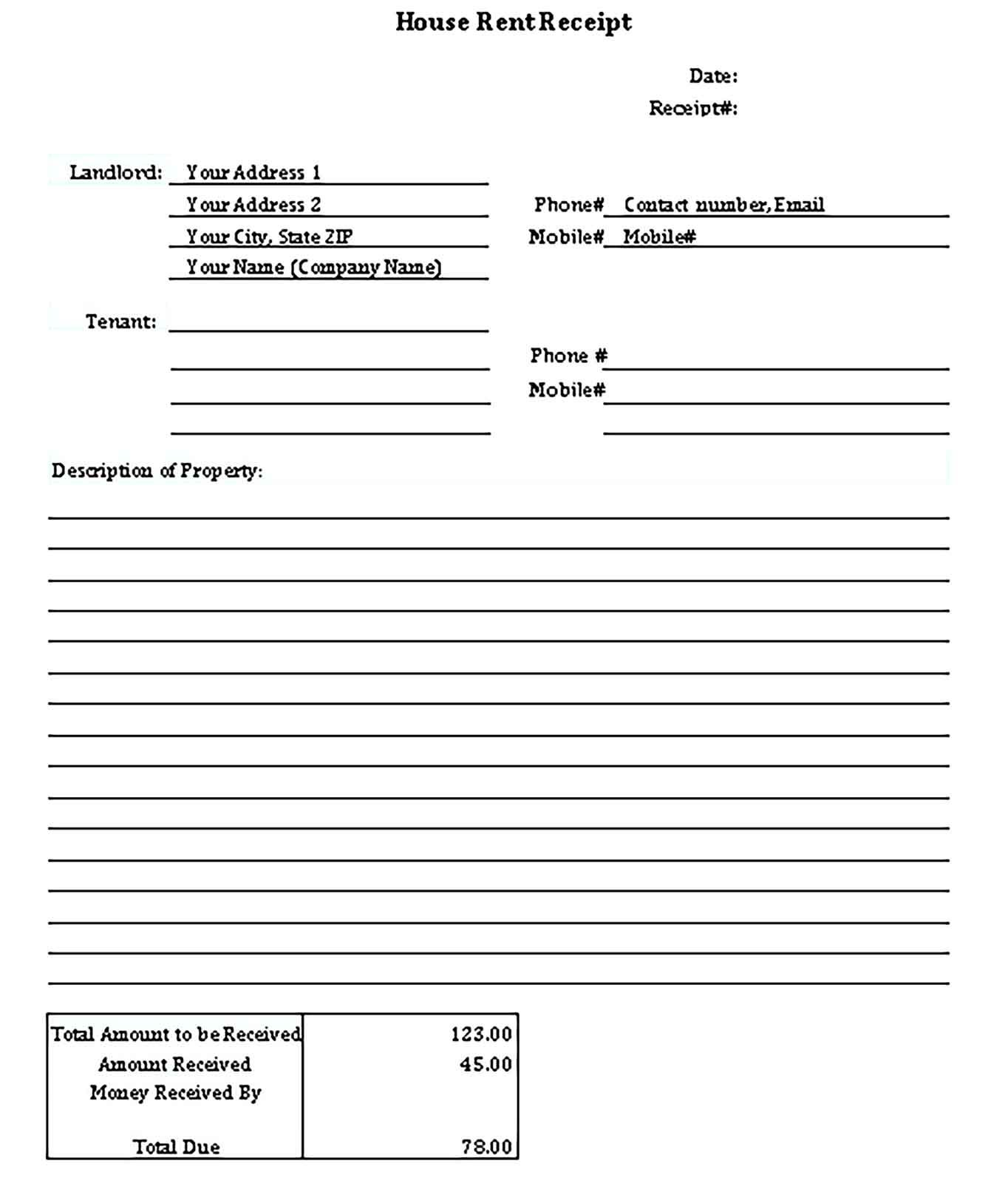 Simple Receipt Template Sample Receipt Template Templates Business Template