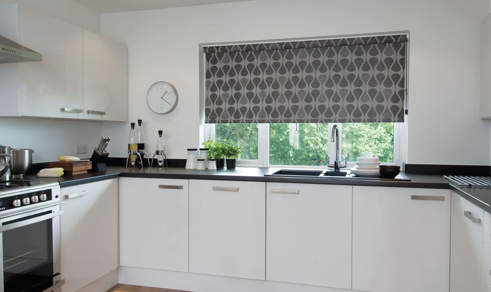 Silver grey contemporary geometric patterned kitchen for Kitchen roman blinds contemporary