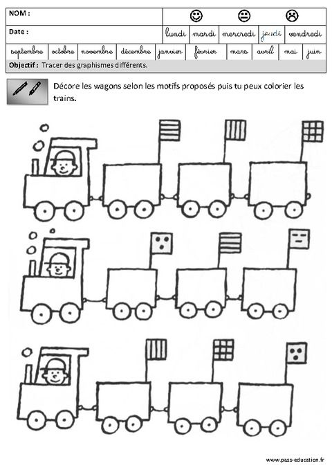 Extrêmement Fiches pédagogiques - Exercices - Graphisme – Maternelle – Grande  LX08