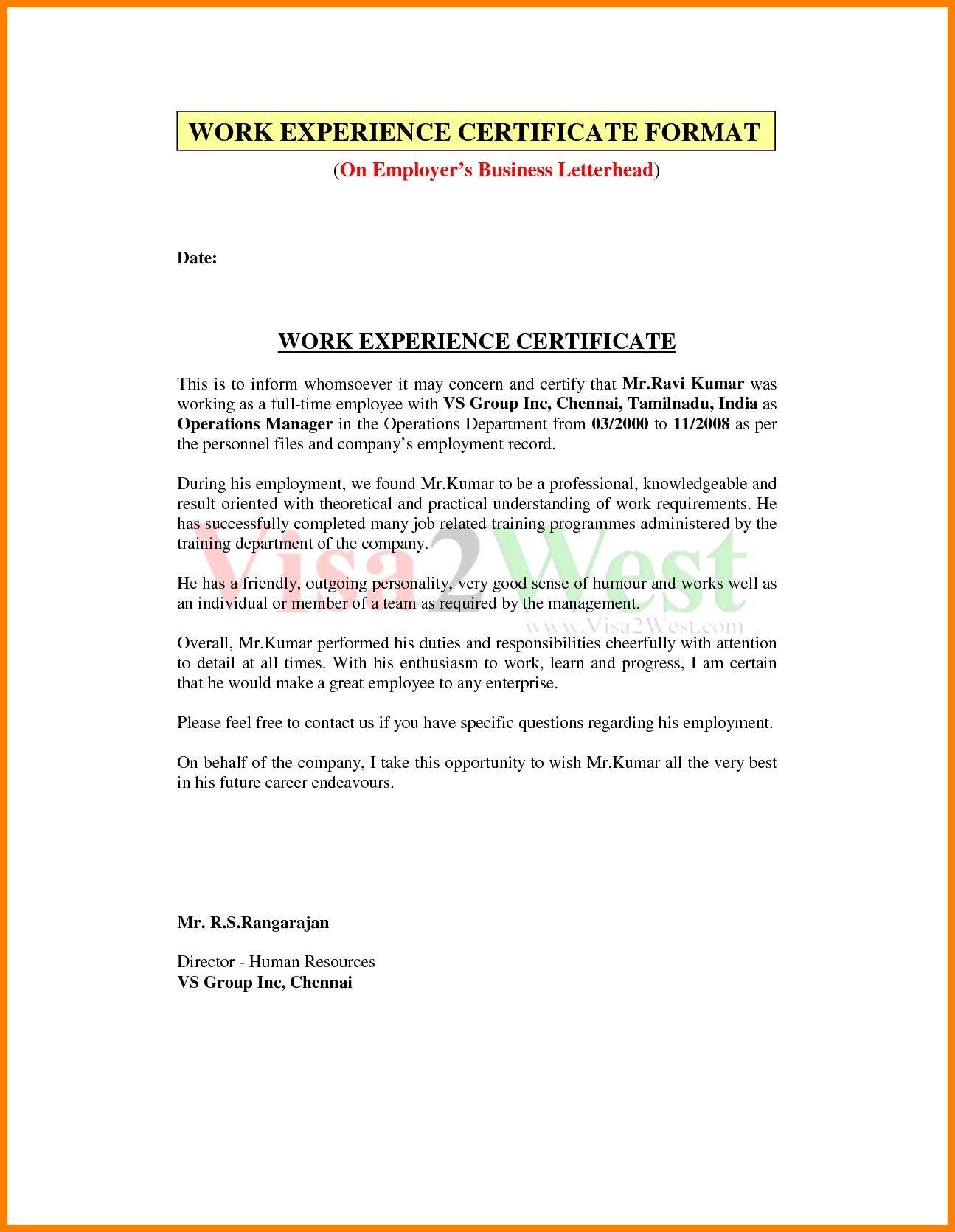 experience certificate sample teaching new university