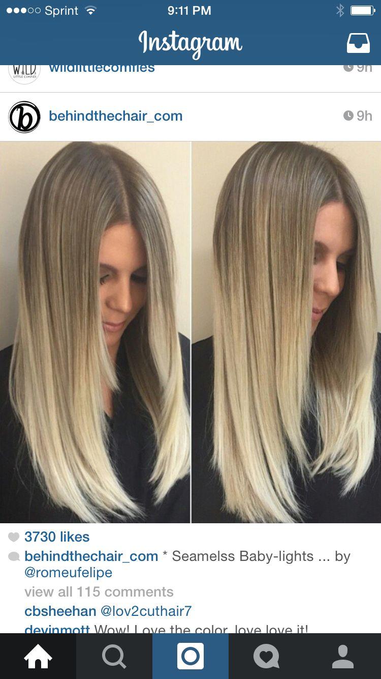 Seamless Blend From Dark Ash Blonde Baby Lights To Heavy Blonde Build Up Color De Pelo Casta 241 O