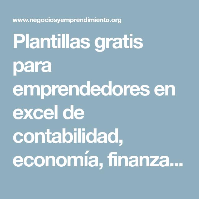 Plantillas gratis para emprendedores en excel de contabilidad ...