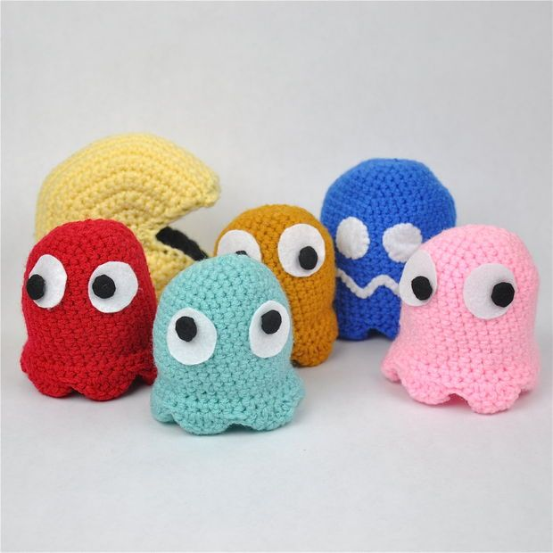 Free Crochet Pacman and Ghosts Pattern | Amigurumi | Pinterest ...