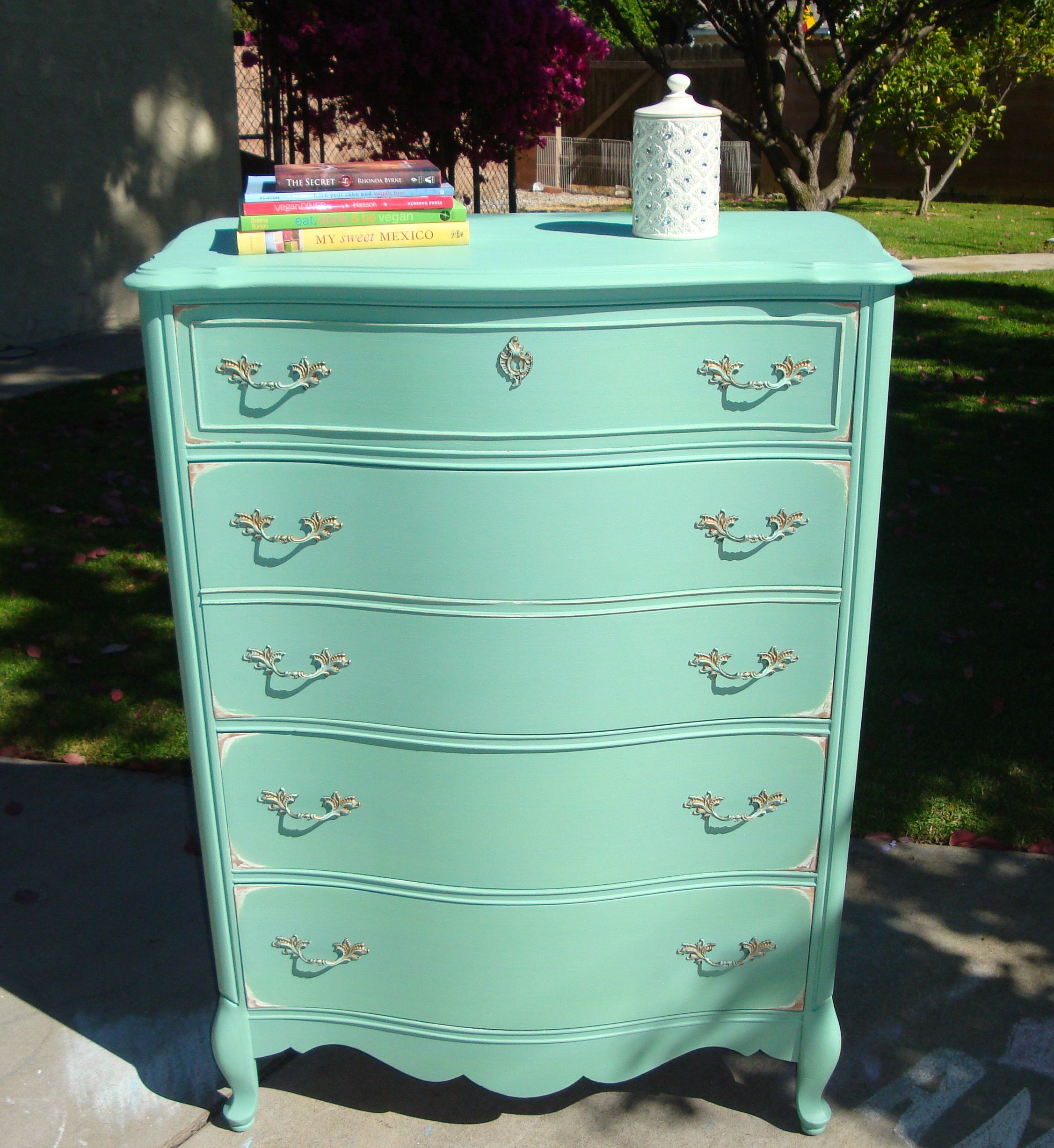 Dressershabby Chic French Style Tall Boy Mint Spring Green