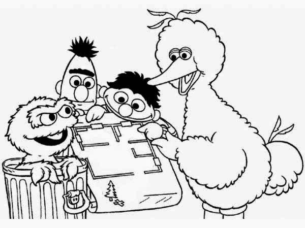Ernie Bert Oscar Big Bird | Coloring Pages | Pinterest | Big bird