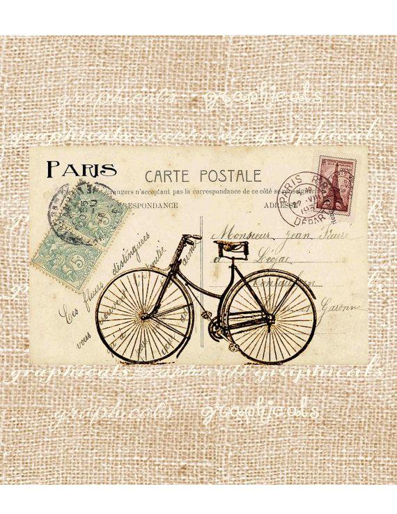 bicycle paris decor instant clip art digital download carte postale for iron on fabric transfer. Black Bedroom Furniture Sets. Home Design Ideas