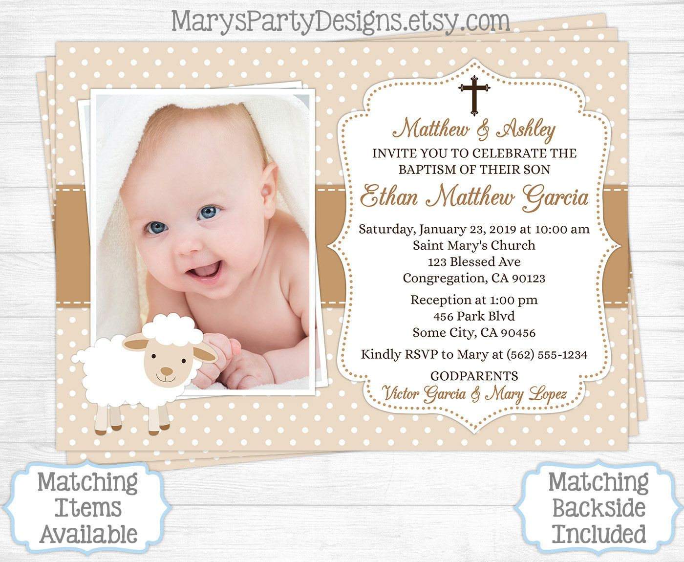 Lamb Baptism Invitation - Boy First 1st Birthday Christening ...