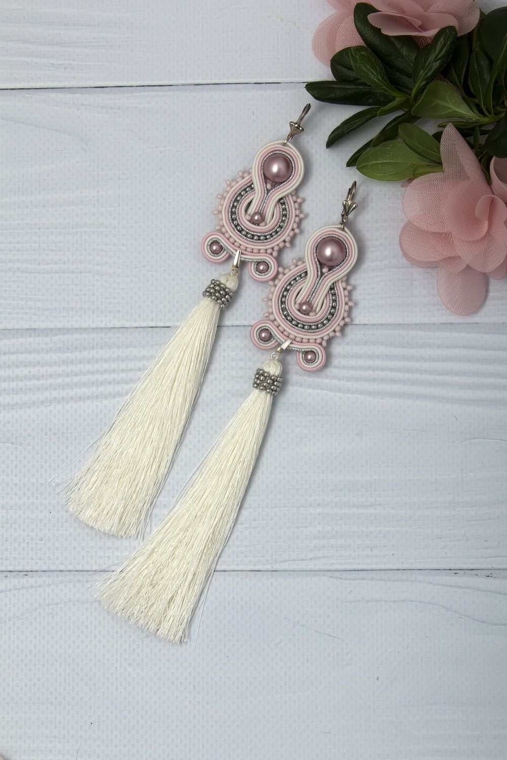 Etsy wedding jewelry drop earrings large wedding earrings wedding earrings white tassel earrings bridal earrings pearl cream earrings for bride soutache earrings arubaitofo Gallery