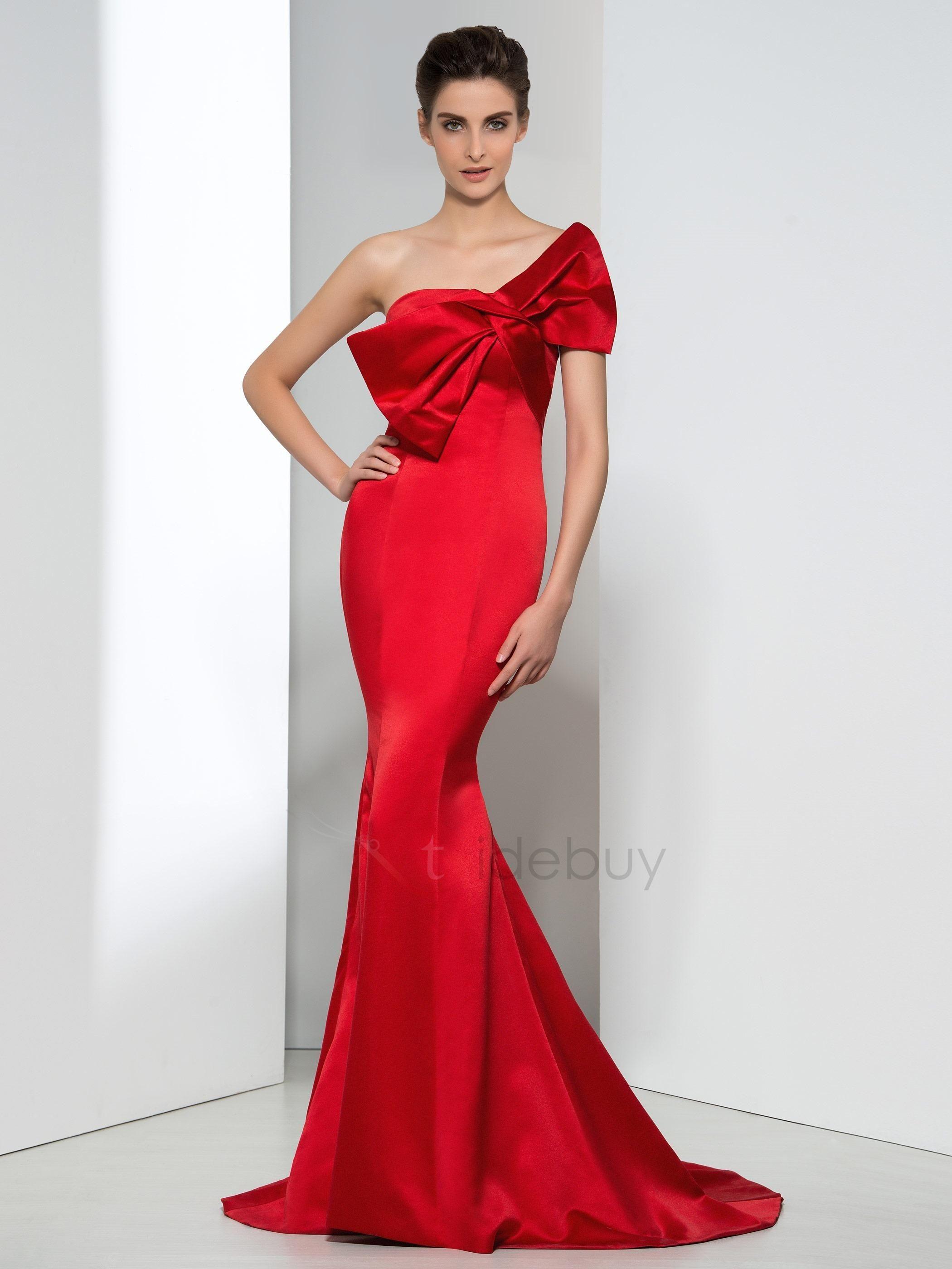 Timeless strapless bowknot mermaid red evening dress mermaid