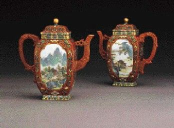 Pair of Famille Rose Coral-Ground Teapots: $1.26 Million