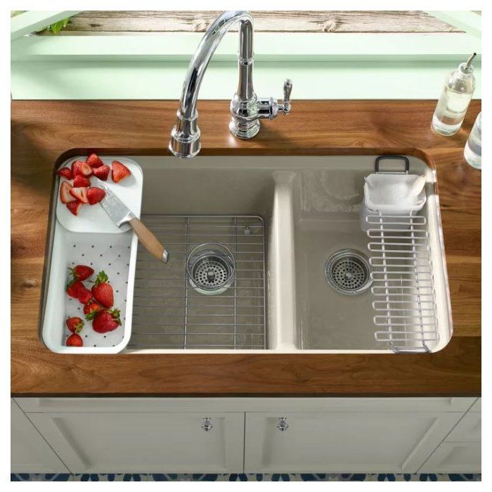 "Zavala Kitchen Faucet: Riverby 33"" L X 22"" W Double Basin Undermount Kitchen Sink"