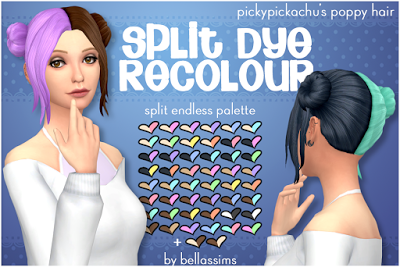 My Sims 4 Blog: Split Dye Hair Recolors by BellasSims | Sims