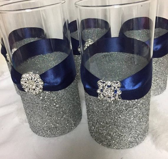Wedding Centerpiece 1 Silver Glitter Vase Navy Blue Wedding