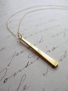 simple gold pendant necklace long - Google Search