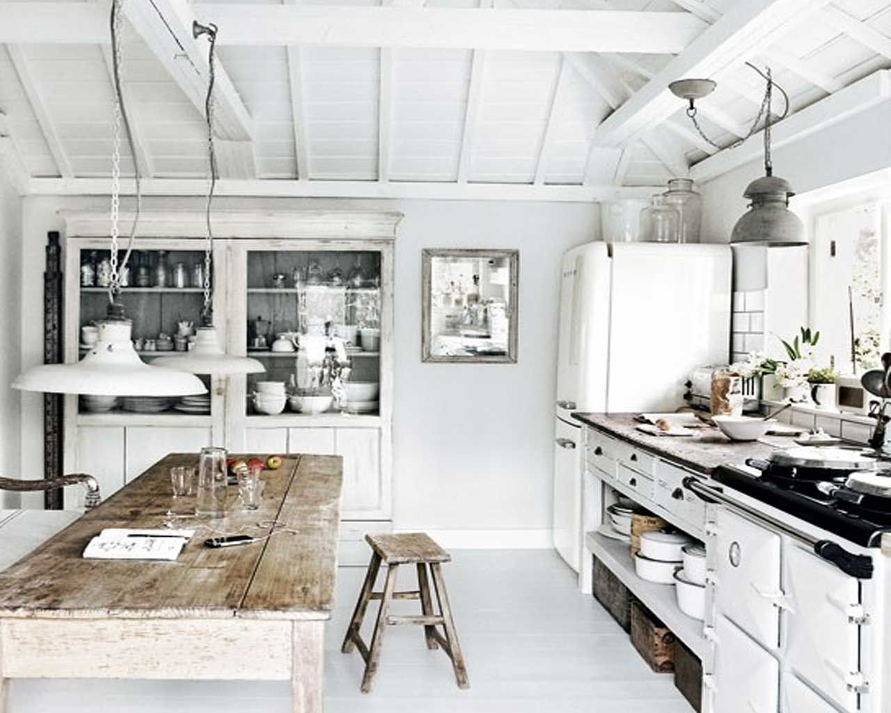 Rustic beach interior design rustic cottage kitchen interiors design in white wall home - Modern house interior design kitchen ...