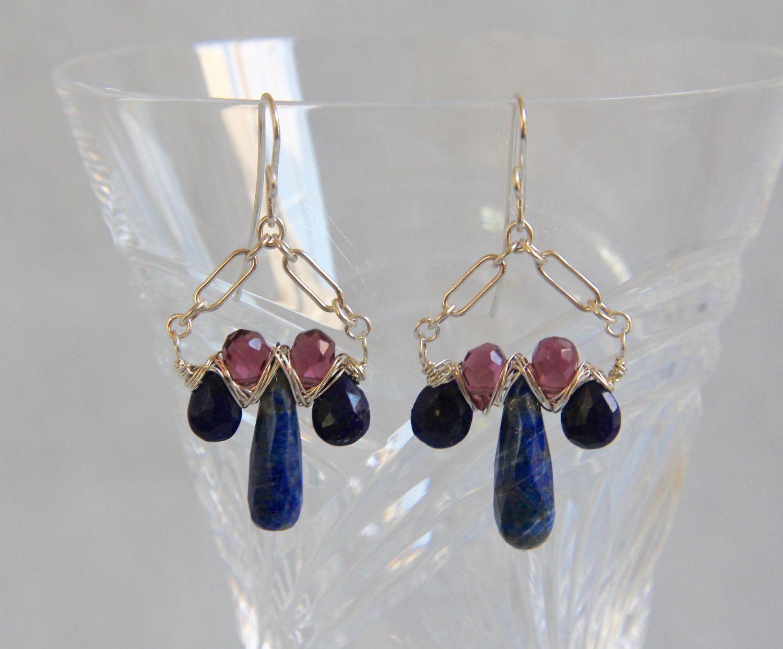 Lapis Lazuli Garnet Drop Earrings, Sterling Silver Wire Wrap Woven,  Handmade Beaded Gemstone Jewelry, Multi Gem Blue Red, January September by AdornmentsAndFrills on Etsy