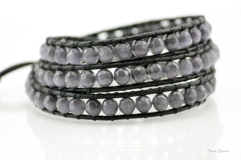 Beaded Gray Cat's Eye 3X Leather Wrap Bracelet Chan Luu