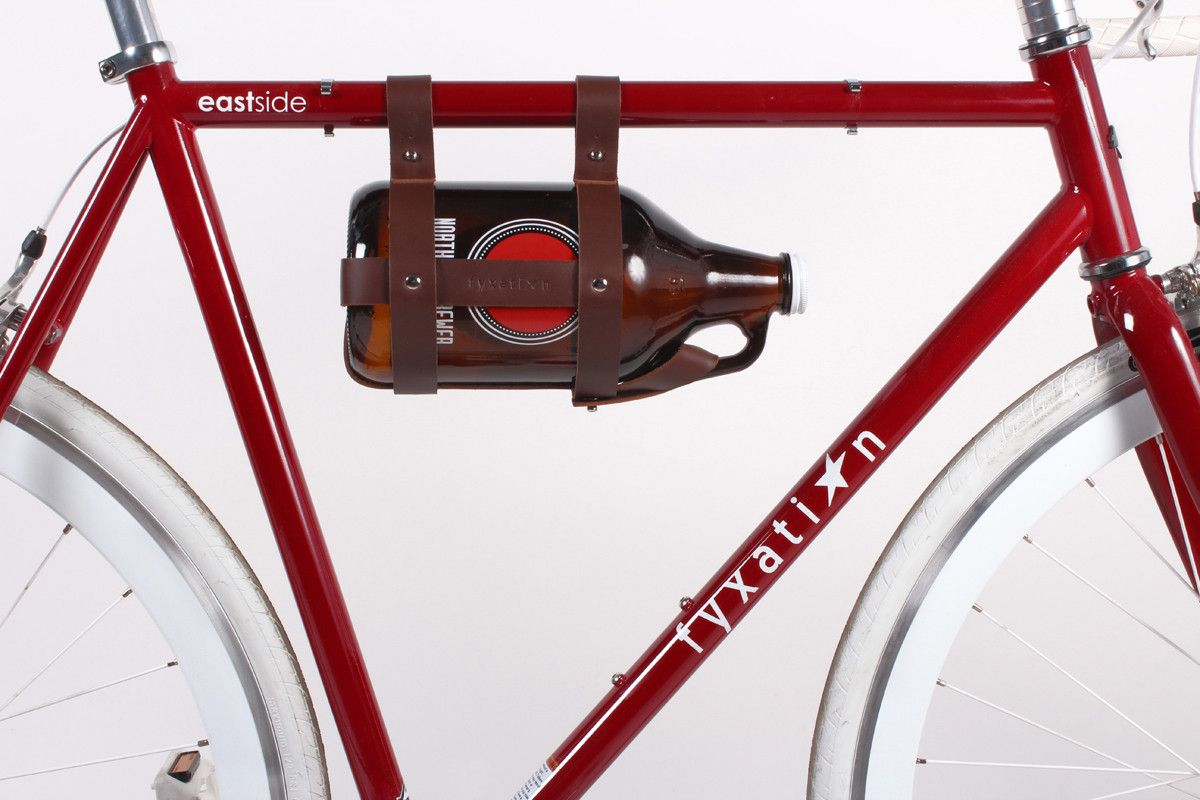 Fyxation Bicycle Growler Carrier Leather Brown Growler Carrier Cool Bike Accessories Leather Bicycle