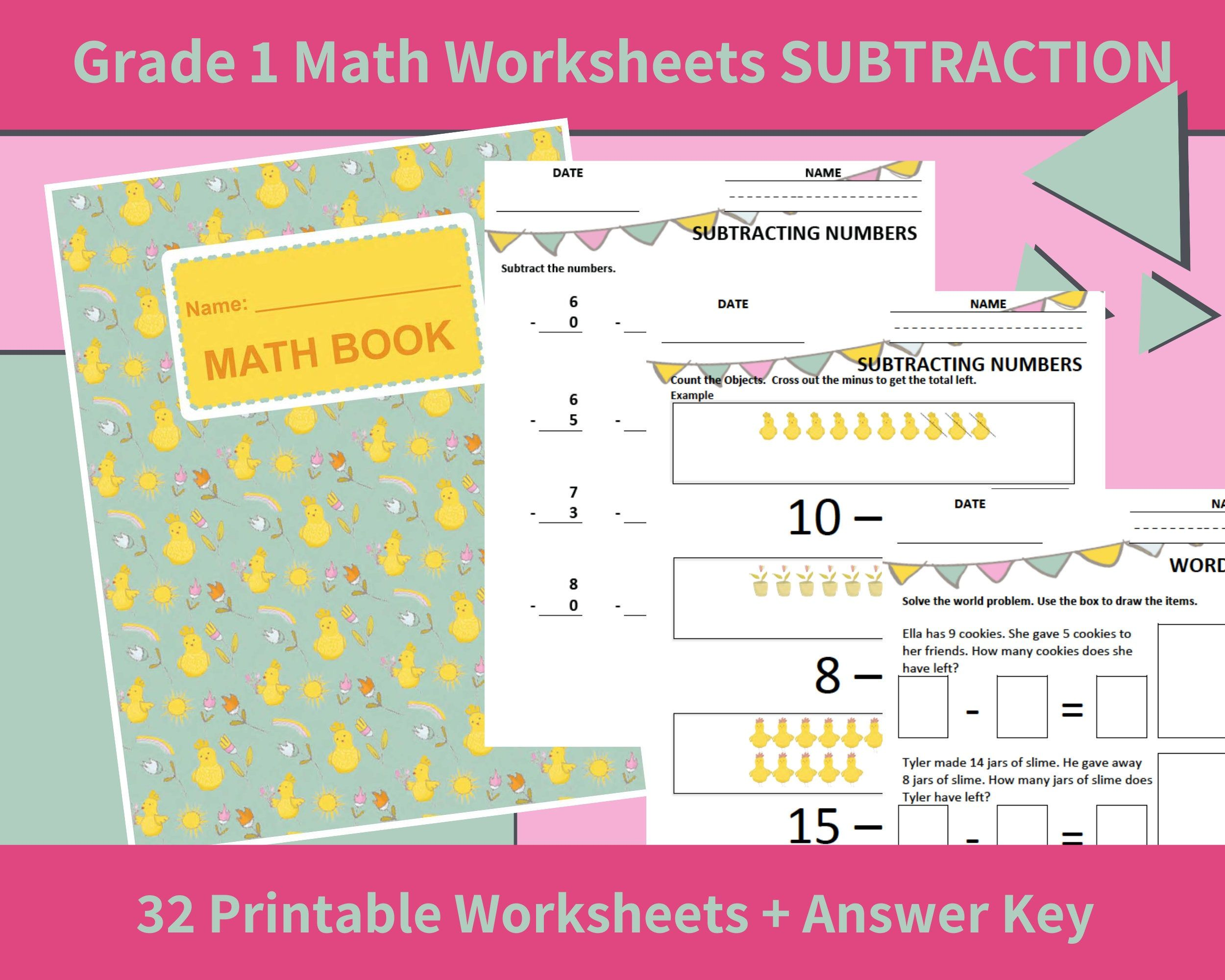 Math Printables Subtraction First Grade Grade 1 Math