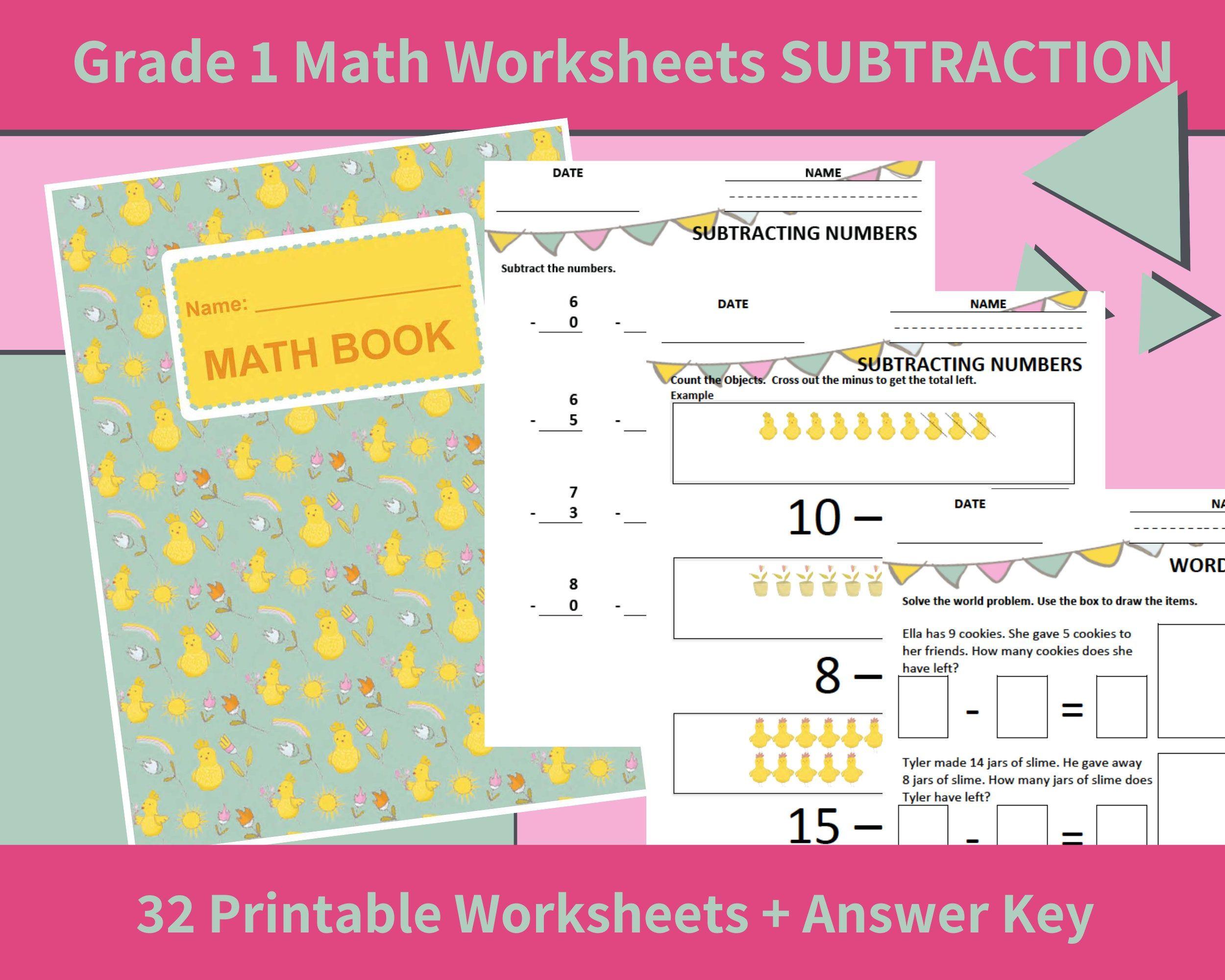 Math Printables Subtraction First Grade Grade 1 Math
