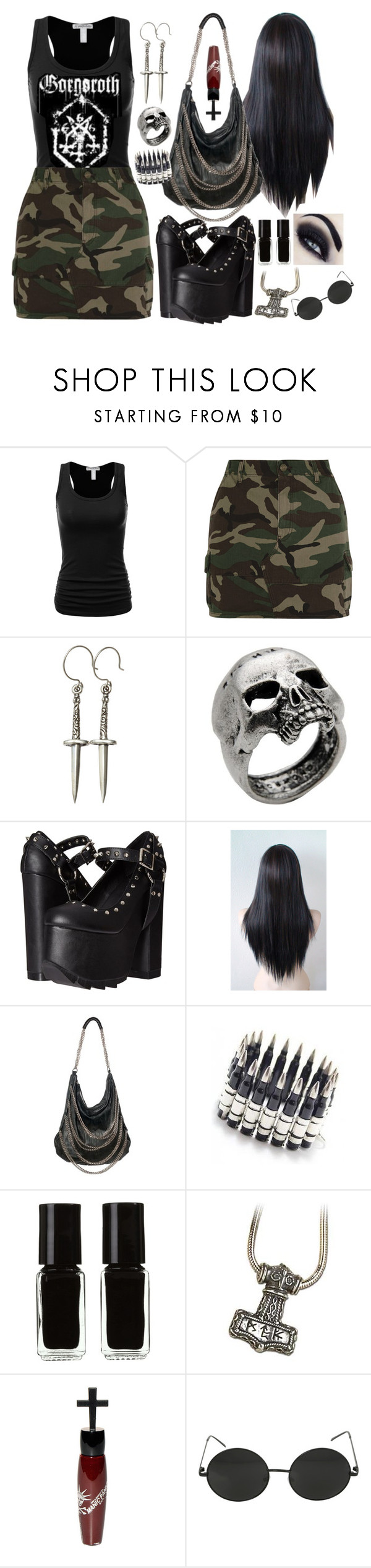 """Gorgoroth"" by jeanettebeatrice ❤ liked on Polyvore featuring Yves Saint Laurent, Femme Metale Jewelry, John Richmond, Demonia, Magali Pascal, Bullet, The New Black, Manic Panic NYC and Hot Topic"