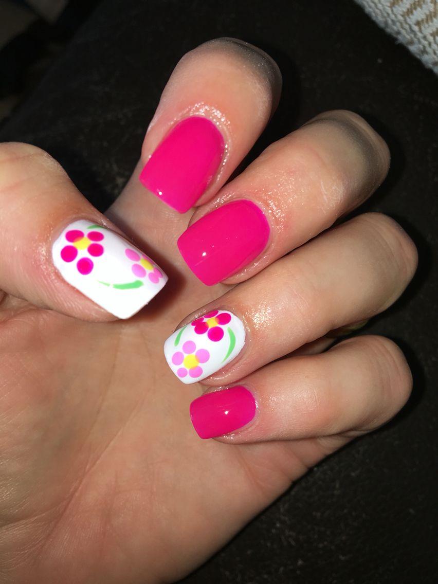 Pink Daisy Nails Nail Art Nail Design Summer Nails August Nails
