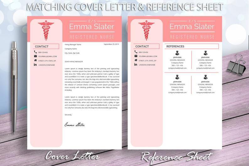 Nurse Resume Cv Template Registered Nurse Cv Nursing Resume Etsy In 2020 Nursing Resume Resume References Medical Resume