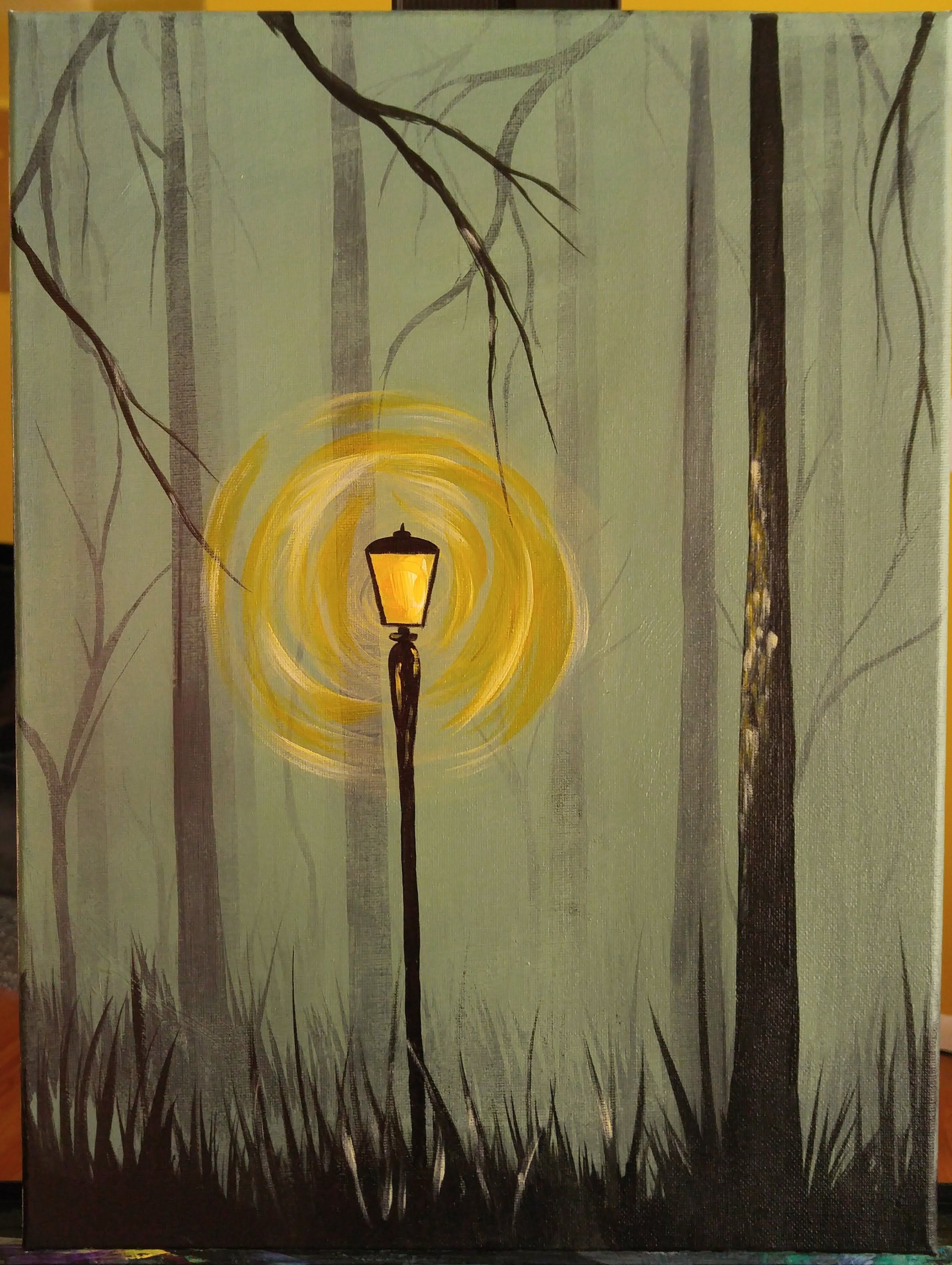 foggy forest step by step acrylic painting on canvas for