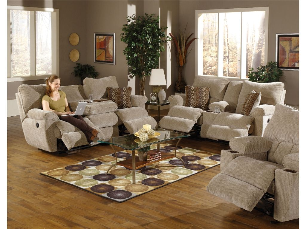 Ordinaire Catnapper Furniture Living Room Reclining Sofa With Drop Down Table 1475  Dual Reclining Sofa