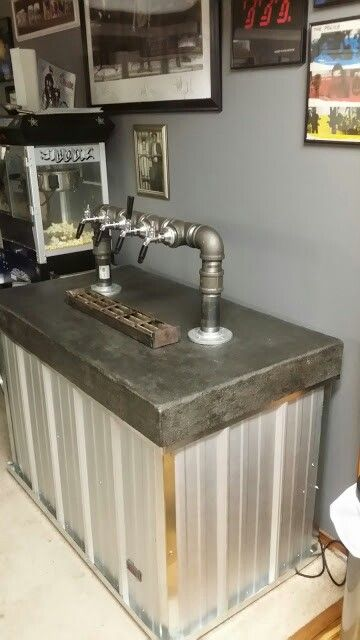 My diy industrial themed keezer kegerator brewing for Home bar with kegerator space