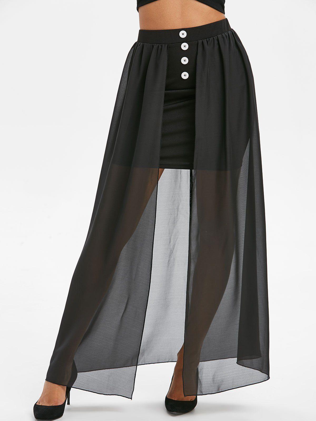 Buttons High Waist Overlay Mesh Maxi Skirt