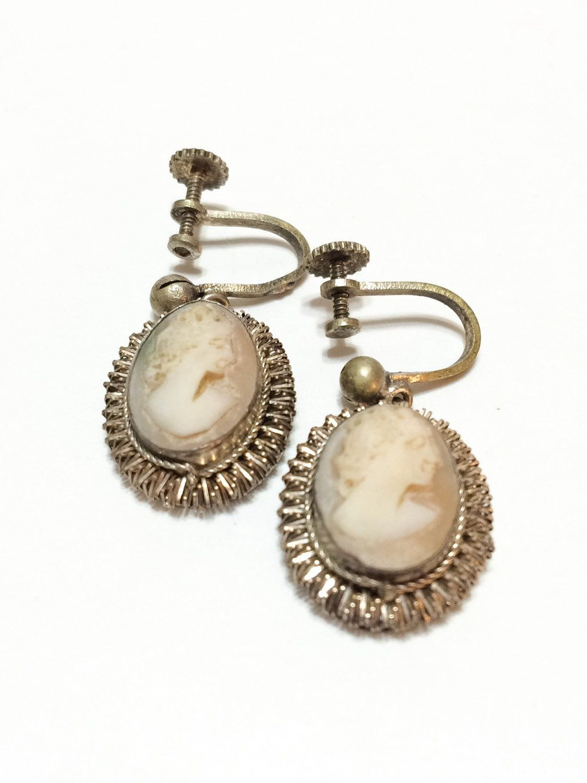 Dangle Earrings, Vermeil Silver Filigree, Hand Carved Cameo, Italian, 1920s, Vintage Jewelry, Edwardian Jewelry, Wedding Jewelry
