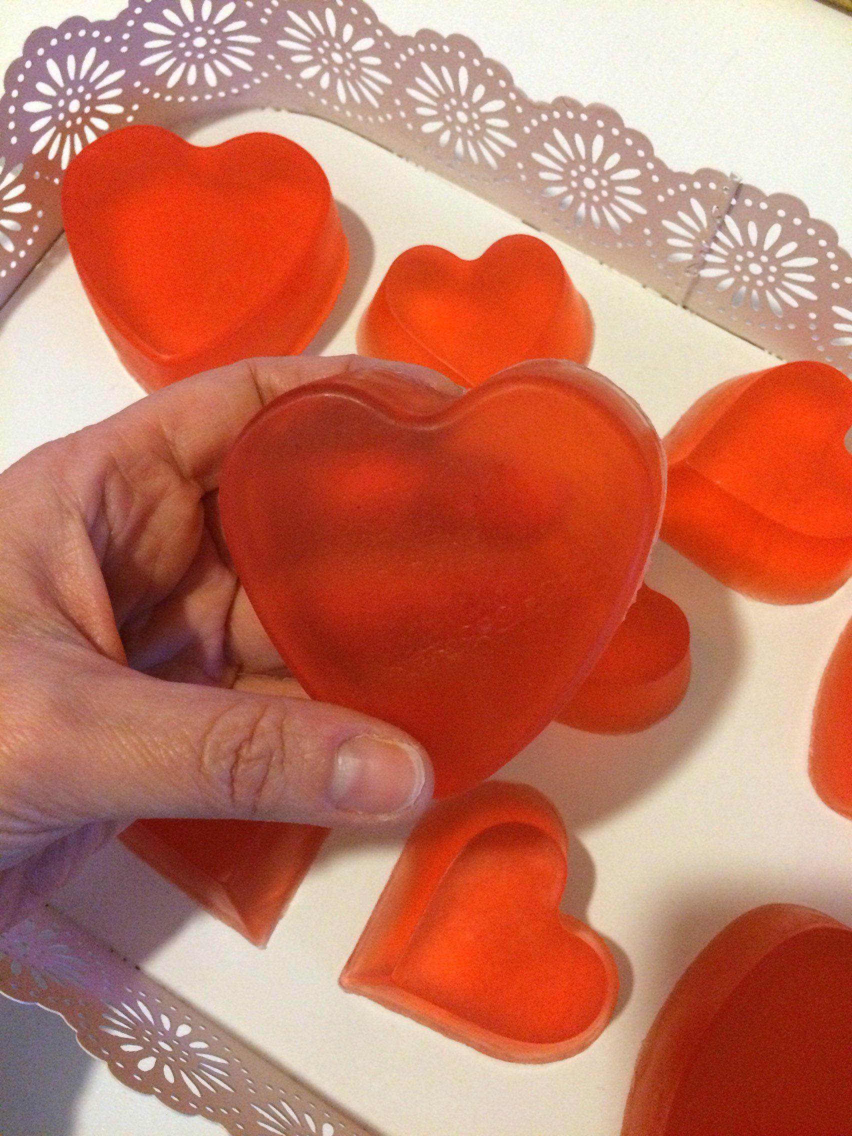 Cuore Rosso Di Sapone Trasparente Alla Glicerina Fatto A Mano I Love You San Valentino Nozze Anniversario Fidanzamento Fatto A Mano Saponi San Valentino