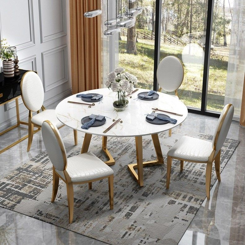 51 Inch Round Dining Table Modern White Faux Marble Top Stainless