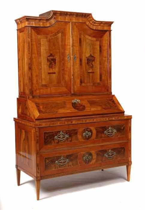 louis xvi aufsatzsekret r ende 18 jh um 1800 nussbaum nussbaummaser furniert und mit. Black Bedroom Furniture Sets. Home Design Ideas