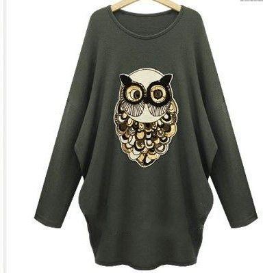 Winter New Moletom Vestidos Feminino Women Printing Owls Plus Thick Long-Sleeved Batwing Sweater Dress C5O263