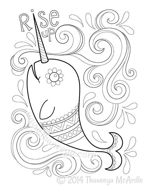 Narwhal Coloring Page from Hipster Coloring Book adult coloring