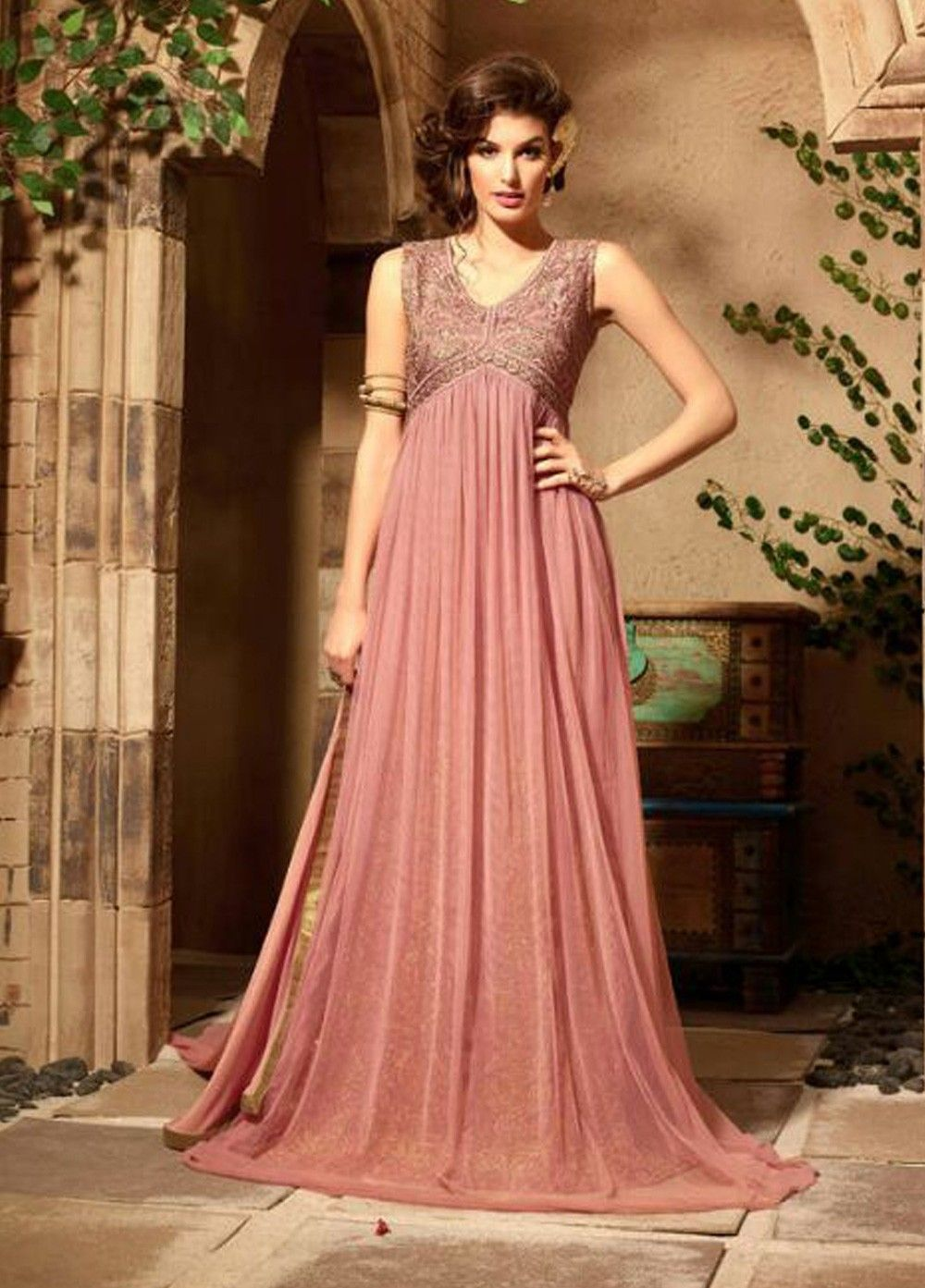 Onion Pink Color Net Party Wear Anarkali Suit At Kollybollyethnics With Free Worldwide Shipping